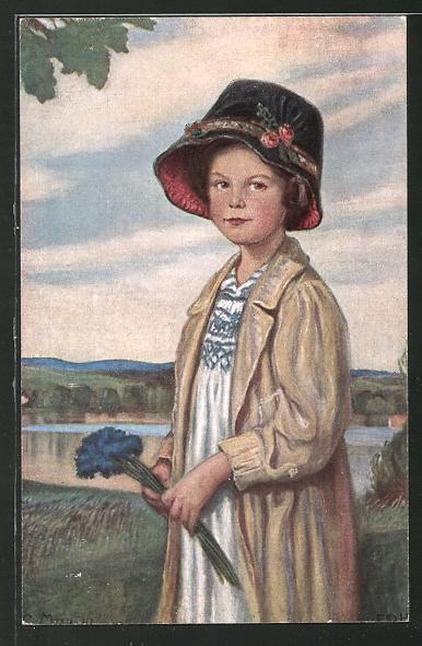 Künstler-AK Corneille Max: Mädchen mit Hut und Kornblumen
