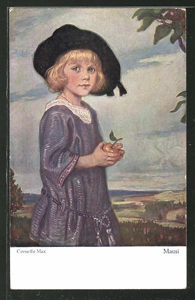 Künstler-AK Corneille Max: Mausi, Mädchen mit Hut und Apfel