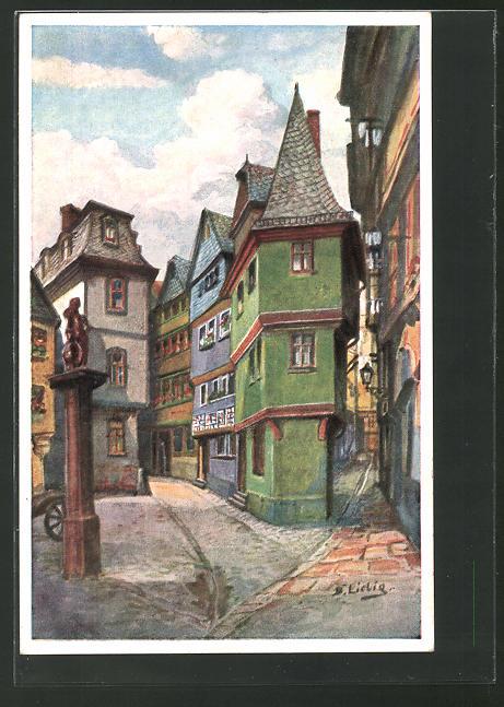Künstler-AK Bernhard Liebig: Frankfurt a. Main, Goldhutgasse