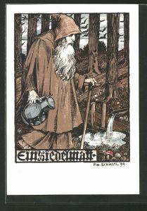 Künstler-AK Rudolf Schiestl: Einsiedelmann im Wald