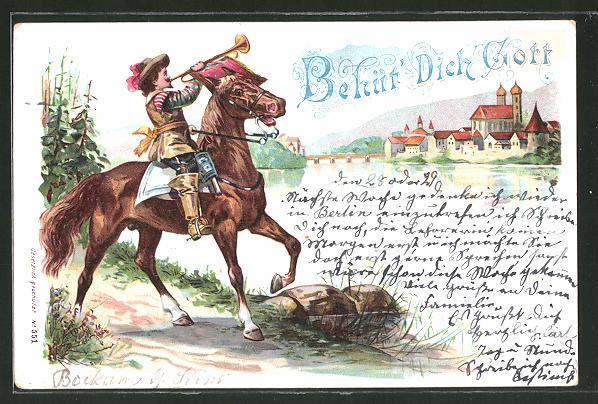 Lithographie Behüt Dich Gott, Trompeter von Säckingen zu Pferd