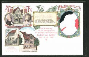 Lithographie Portrait des Dichters Friedrich Schiller, Schillers Sterbehaus, Schillers Eltern- und Geburtshaus