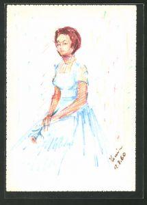Künstler-AK Handgemalt: Junge Frau mit Kopftuch im blauen Kleid