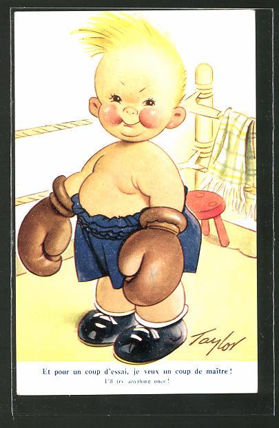 AK Kindlicher Boxer im Ring