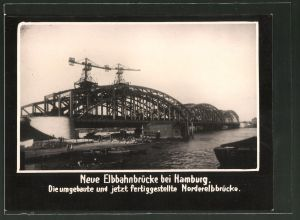 Fotografie Fotograf unbekannt, Ansicht Hamburg, Neue Elbbahnbrücke, Nordelbbrücke