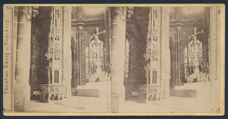 Stereo-Fotografie Christian König, Nürnberg, Ansicht Nürnberg, Sacramentshäuschen in der Lorenz-Kirche