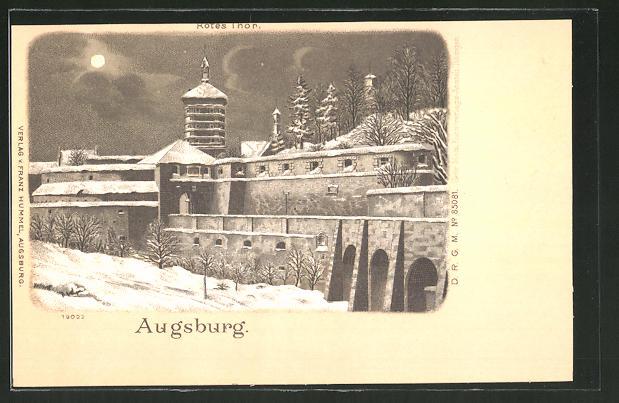 Winter-Lithographie Augsburg, nächtlicher Blick auf das Rote Thor