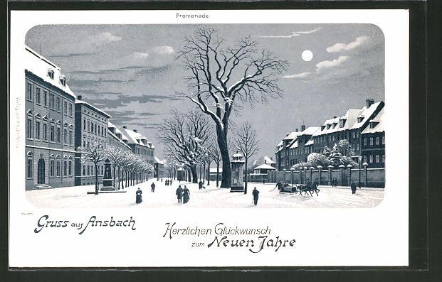 Winter-Lithographie Ansbach, Promenade bei Nacht und Vollmond