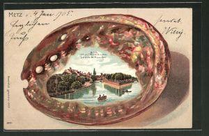 Passepartout-Lithographie Metz, Blick von der Mittelbrücke, Ansicht auf Muschel