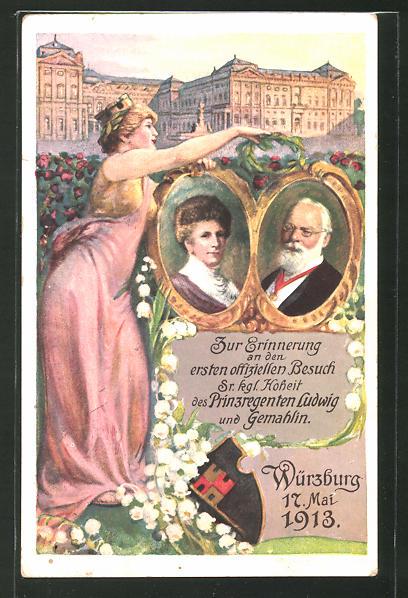 AK Würzburg, Portraits von Kgl. Hoheit Prinzregent Ludwig und seine Gemahlin, Ganzsache Bayern PP27C94