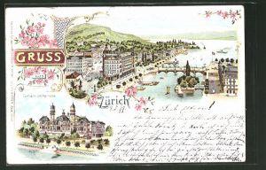 Lithographie Zürich, Gesamtansicht aus der Vogelschau, Tonhalle am Alpenquai