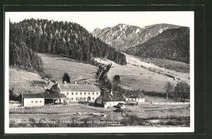 AK Schwarzau i. Gebirge, Hotel Singer mit Kuhschneeberg