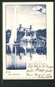 AK Camenz, Fontaine mit Blick auf das Schloss Camenz