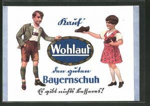 Künstler-AK Kleukheim, Reklame Wohlauf Schuhe, Spezial-Schuhhaus Pankr. Eberth Ww.