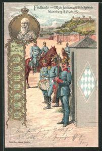 Künstler-AK Würzburg, 100jähriges Jubiläum des K.B. Inf. Regiments Wrede, Ganzsache Bayern PP15 C54/01