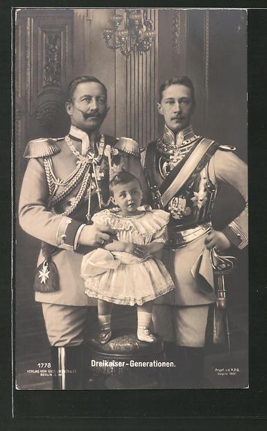 AK Kaiser Wilhelm II. mit seinem Sohn und seinem Enkel