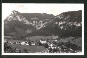 AK Schwarzau i. Gebirge, Teilansicht aus der Vogelschau