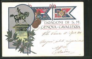Lithographie Genova, Dragoni di S. M., Denkmal, Fahnen