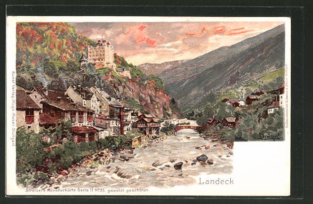 Künstler-Lithographie Otto Strützel: Landeck, Blick zum Ort