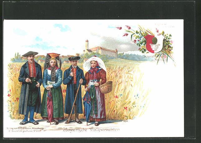 Künstler-Lithographie Kirchheim, Männer und Frauen in bayer. Volkstrachten aus Schwaben u. Neuburg, Wappen