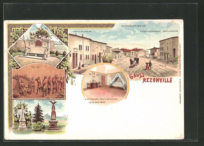 Lithographie Rezonville, Nachtquartiere d. König Wilhelm I. u. Bismarck, Denkmal Zietenhusaren