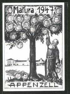 AK Appenzell, Absolvia Matura 1947, Mönch pflückt Äpfel vom Baum