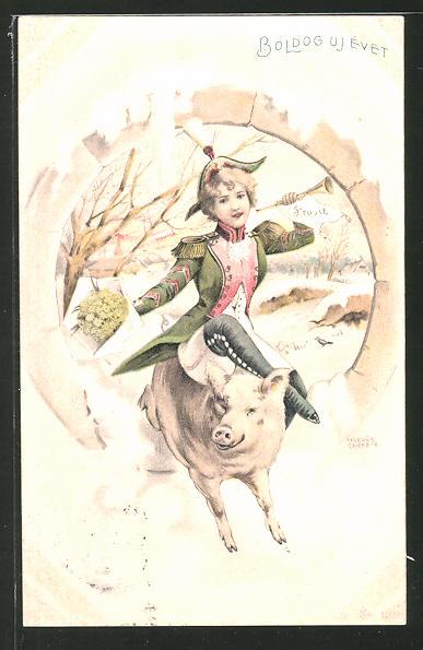 Künstler-Lithographie Richard Hegedüs-Geiger: Frau reitet auf einem Glücksschwein
