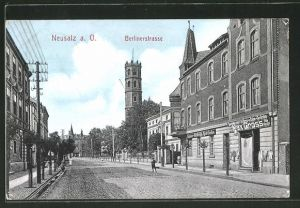 AK Neusalz, Blick in die Berliner Strasse