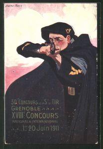 Künstler-AK Grenoble, 30. Concours de la Ste. de Tir, XVIII. Concours National & International 1911, Schützenverein