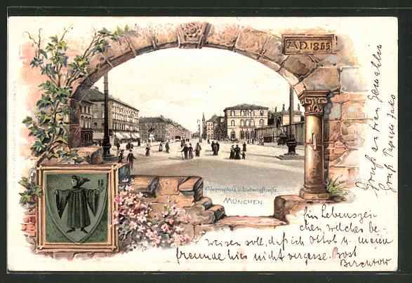 Passepartout-Lithographie München, Wappen, Odeonsplatz und Ludwigstrasse