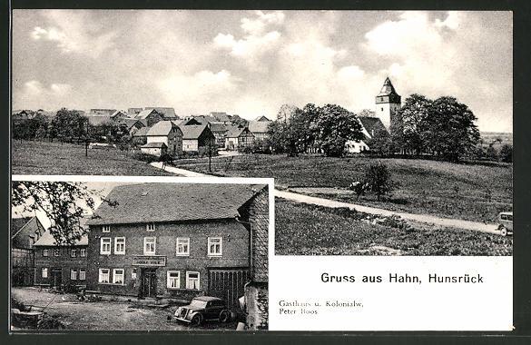 AK Hahn, Gasthaus und Kolonialwaren Peter Boos, Ortsansicht vom Ortseingang aus
