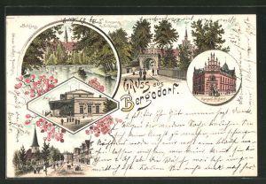 Lithographie Hamburg-Bergedorf, Schloss, Kaiserl. Postamt, Bahnhof