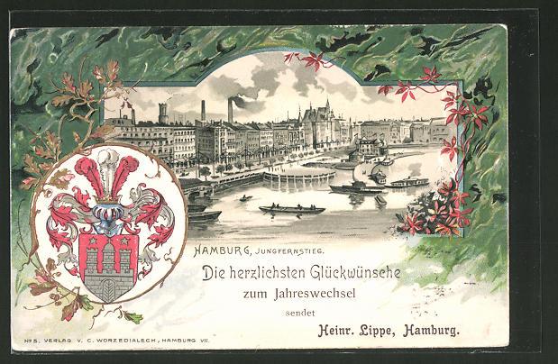 Passepartout-Lithographie Hamburg-Neustadt, Jungfernstieg-Partie, Stadt-Wappen