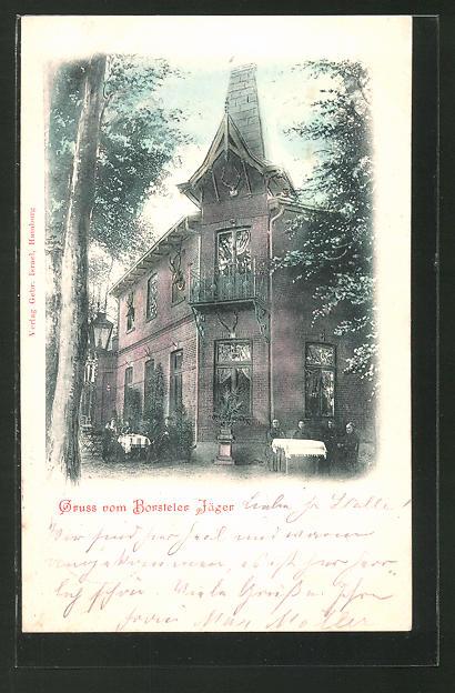 AK Hamburg-Gross-Borstel, Blick auf das Gasthaus