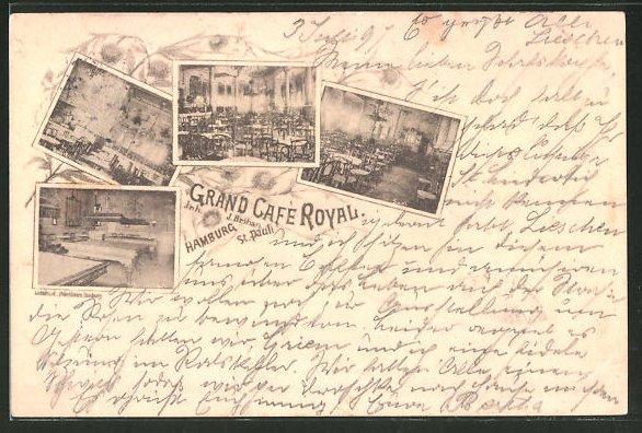 Lithographie Hamburg-St. Pauli, Grand Cafe Royal, verschiedene Ansichten