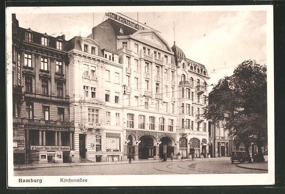 AK Hamburg-St.Georg, Kirchenallee mit Hotel Reichshof