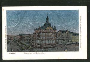 Luna-AK Dresden, Ringstrasse und Kaiserpalast, Strassenbahn