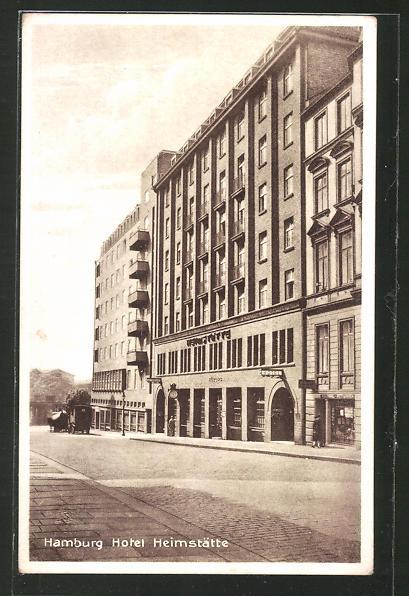 AK Hamburg-St.Georg, Hotel-Restaurant Heimstätte, Nagelsweg 10/14