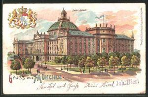 Lithographie München, Blick zum Justiz-Palast