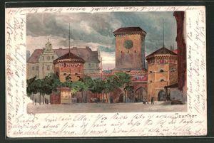 Künstler-Lithographie Heinrich Kley: München, Strassenpartie am Isarthor