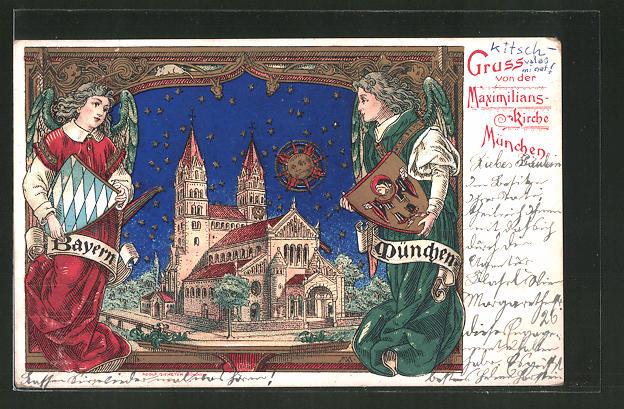 Lithographie München, Maximilians-Kirche, Wittelsbacher Strasse