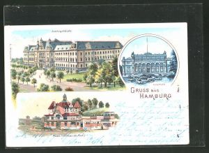 Lithographie Hamburg-St. Pauli, Justizgebäude, Kunsthalle, Neues Fährhaus