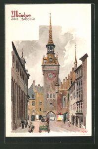 Künstler-Lithographie Heinrich Kley: München, Altes Rathaus