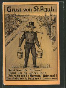 AK Hamburg-St. Pauli, Hummel Hummel! Wasserträger, Ortsansicht