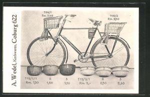 AK Coburg, Reklame für Korbwaren für Fahrräder von A. Wedel