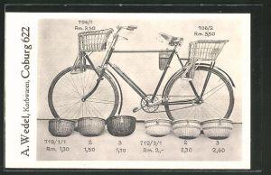 AK Coburg, Reklame für Korbwaren für Fahrräder der Firma A. Wedel
