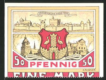 Notgeld Cranenburg 1921, 50 Pfennig, Stadtwappen und Cranenburg um 1563
