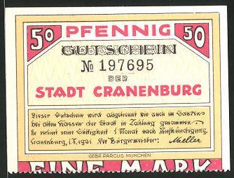 Notgeld Cranenburg 1921, 50 Pfennig, Stadtwappen und Cranenburg anno 1563