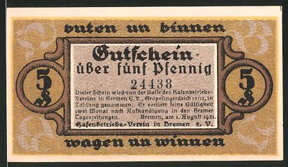 Notgeld Bremen 1921, 5 Pfennig, Ozeandampfer