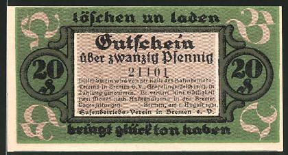 Notgeld Bremen 1921, 20 Pfennig, Hafenmotiv